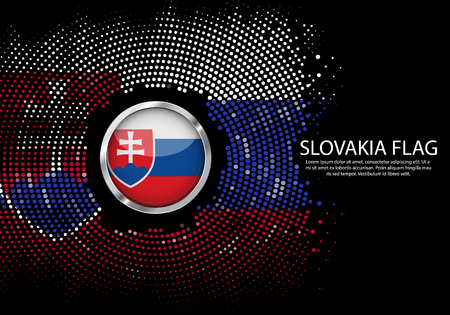 Background Halftone gradient template or LED neon Light on round Dots style of Slovakia flag.  Modern soccer cup for futuristic background with circle metallic round of Slovakia flag. Vector.