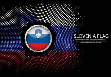 Background Halftone gradient template or LED neon Light on round Dots style of Slovenia flag.  Modern soccer cup for futuristic background with circle metallic round of Slovenia flag. Vector. Illustration