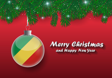 Vector border of Christmas tree branches and ball with congo flag. Merry christmas and happy new year.