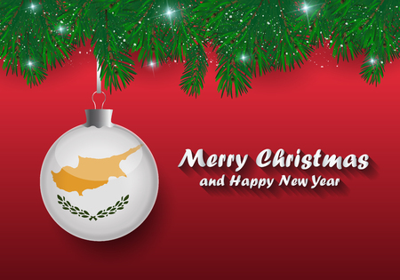 Vector border of Christmas tree branches and ball with cyprus flag. Merry christmas and happy new year.