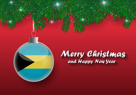 Vector border of Christmas tree branches and ball with bahamas flag. Merry christmas and happy new year. Vetores