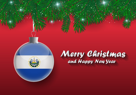 Vector border of Christmas tree branches and ball with el salvador flag. Merry christmas and happy new year.