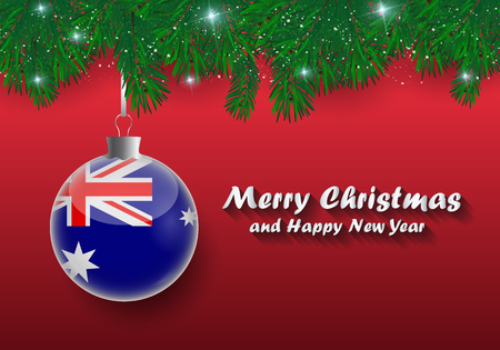 Vector border of Christmas tree branches and ball with australia flag. Merry christmas and happy new year.