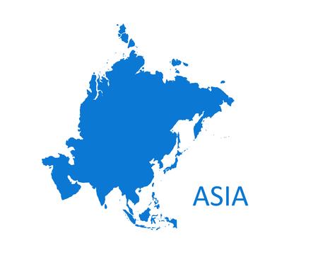 Carte du continent asiatique. illustration vectorielle sur fond blanc. Vecteurs