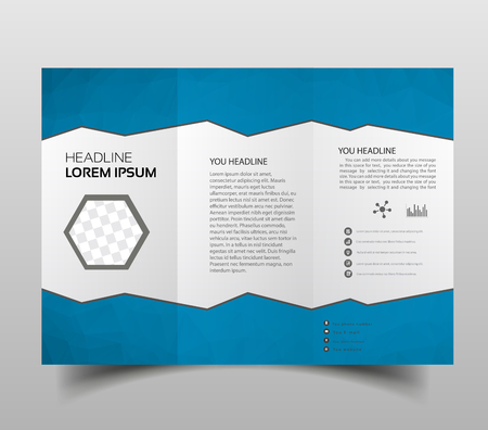 square geometric vector business tri-fold Leaflet Brochure Flyer template flat design set. Brochure design, brochure template, creative tri-fold.