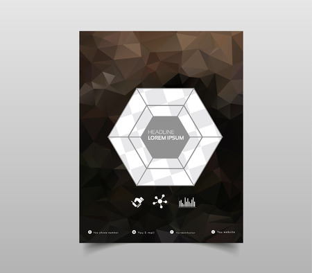 Template for Brochures, Flyers, Posters, Covers or Web Design. Abstract Modern Background with Triangular Vectores