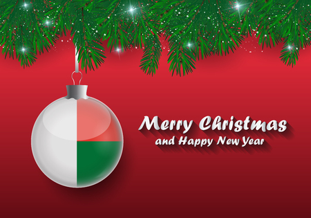 Vector border of Christmas tree branches and ball with madagascar flag. Merry christmas and happy new year.