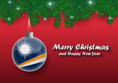 Vector border of Christmas tree branches and ball with marshall islands flag. Merry christmas and happy new year. Illustration