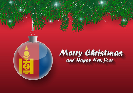 Vector border of Christmas tree branches and ball with mongolia flag. Merry christmas and happy new year.