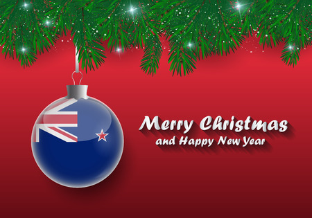 Vector border of Christmas tree branches and ball with new zealand flag. Merry christmas and happy new year.