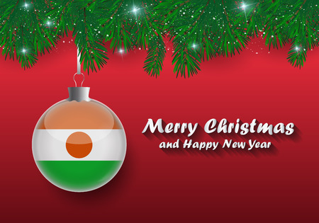 Vector border of Christmas tree branches and ball with niger flag. Merry christmas and happy new year.