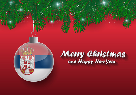 Vector border of Christmas tree branches and ball with serbia flag. Merry christmas and happy new year.