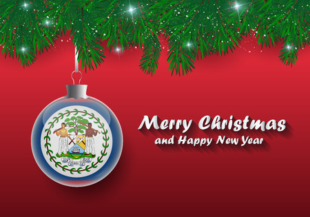 Vector border of Christmas tree branches and ball with belize flag. Merry christmas and happy new year. Vetores