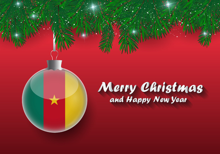 Vector border of Christmas tree branches and ball with cameroon flag. Merry christmas and happy new year.