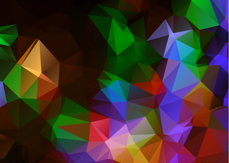Abstract Dark Multicolor geometric rumpled triangular low poly origami style gradient illustration graphic background. Vector polygonal design for your business. Rainbow, spectrum image. Illustration