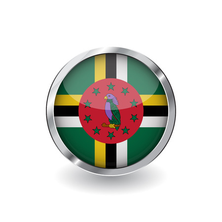 Flag of dominica, button with metal frame and shadow. dominica flag vector icon, badge with glossy effect and metallic border. Realistic vector illustration on white background.