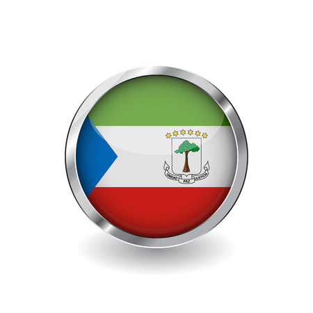 Flag of equatorial guinea, button with metal frame and shadow. equatorial guinea flag vector icon, badge with glossy effect and metallic border. Realistic vector illustration on white background.