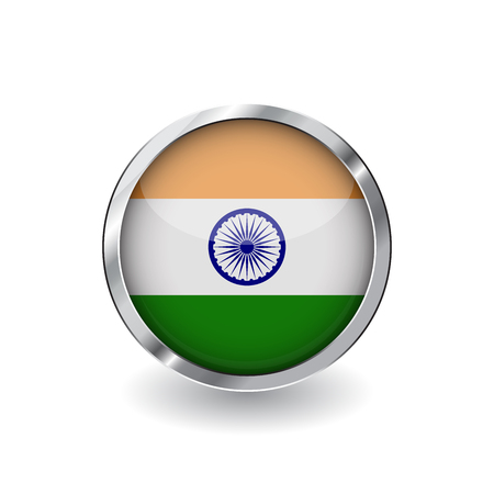 Flag of india, button with metal frame and shadow. india flag vector icon, badge with glossy effect and metallic border. Realistic vector illustration on white background.
