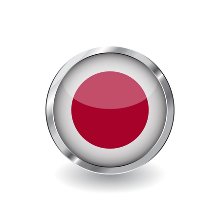 Flag of japan, button with metal frame and shadow. japan flag vector icon, badge with glossy effect and metallic border. Realistic vector illustration on white background. Illustration