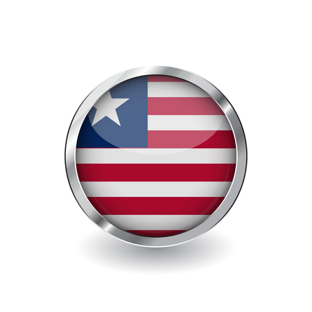 Flag of liberia, button with metal frame and shadow. liberia flag vector icon, badge with glossy effect and metallic border. Realistic vector illustration on white background.