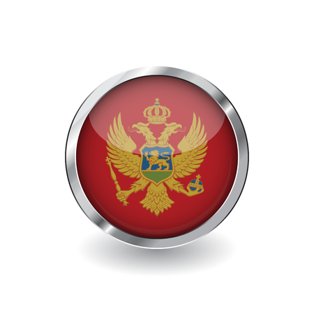 Flag of montenegro, button with metal frame and shadow. montenegro flag vector icon, badge with glossy effect and metallic border. Realistic vector illustration on white background.