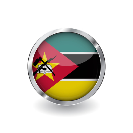 Flag of mozambique, button with metal frame and shadow. mozambique flag vector icon, badge with glossy effect and metallic border. Realistic vector illustration on white background.