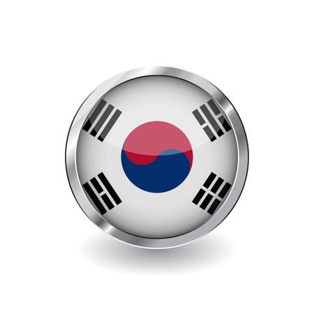 Flag of south korea, button with metal frame and shadow. South korea flag vector icon, badge with glossy effect and metallic border. Realistic vector illustration on white background.