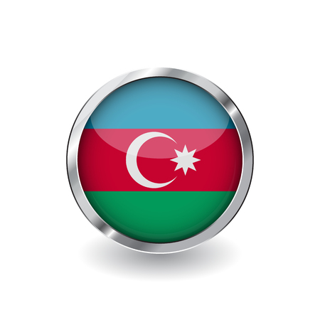 Flag of azerbaijan, button with metal frame and shadow. azerbaijan flag vector icon, badge with glossy effect and metallic border. Realistic vector illustration on white background.