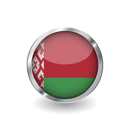 Flag of belarus, button with metal frame and shadow. belarus flag vector icon, badge with glossy effect and metallic border. Realistic vector illustration on white background.