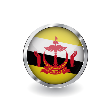 Flag of brunei, button with metal frame and shadow. brunei flag vector icon, badge with glossy effect and metallic border. Realistic vector illustration on white background.