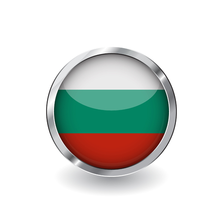 Flag of bulgaria, button with metal frame and shadow. bulgaria flag vector icon, badge with glossy effect and metallic border. Realistic vector illustration on white background.