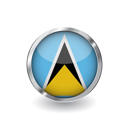 Flag of saint lucia, button with metal frame and shadow. saint lucia flag vector icon, badge with glossy effect and metallic border. Realistic vector illustration on white background.
