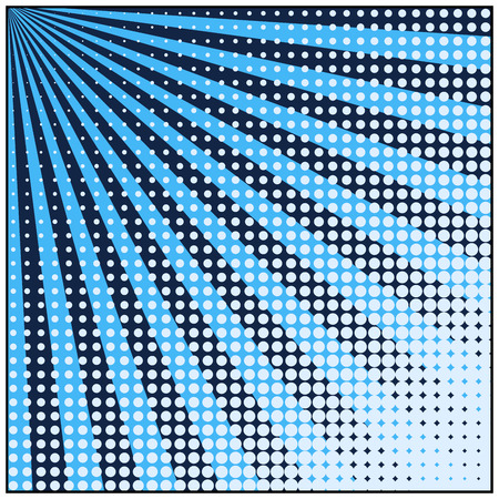 Comic book pop art retro background with halftone dots and radial rays. Vector illustration of blue background. Vettoriali