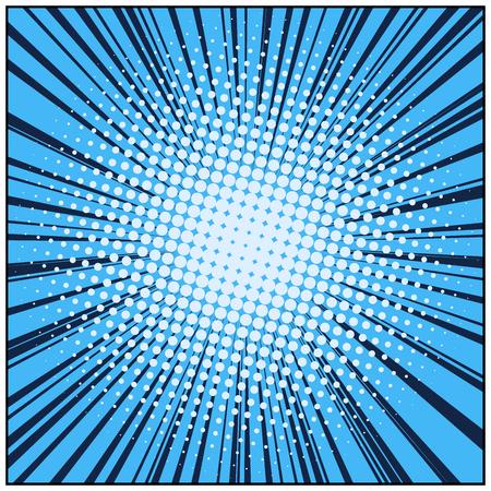 Blue pop art retro background with exploding rays of lightning comic style, vector illustration Vector Illustration