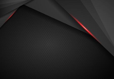 Perforated black metallic background, abstract wallpaper, vector illustration - Vector 일러스트