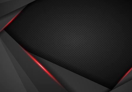 abstrakter metallischer schwarzer roter Rahmen auf Carbon-Kevlar-Texturmuster-Tech-Sportinnovationskonzepthintergrund - Vector Vektorgrafik