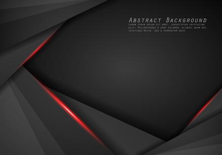 Fondo de plantilla de diseño de tecnología moderna diseño de marco negro rojo metálico abstracto Ilustración de vector