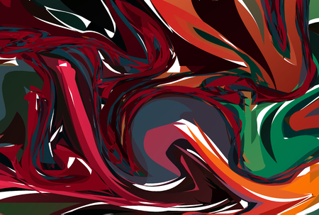 Vector Red Hand drawn artwork on water marble texture. Liquid paint pattern. Abstract colorful background in ebru suminagashi technique.