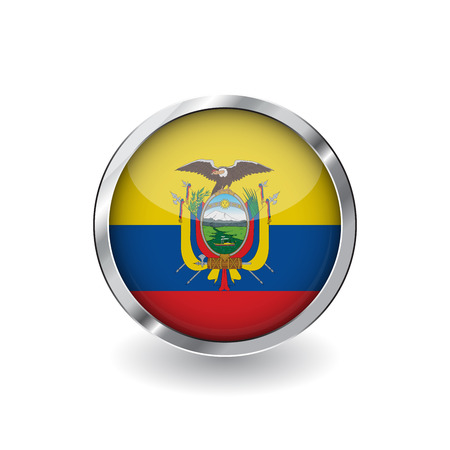 Flag of ecuador, button with metal frame and shadow. ecuador flag vector icon, badge with glossy effect and metallic border. Realistic vector illustration on white background.