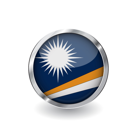 Flag of marshall islands, button with metal frame and shadow. marshall islands flag vector icon, badge with glossy effect and metallic border. Realistic vector illustration on white background.