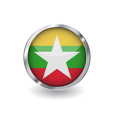 Flag of myanmar, button with metal frame and shadow. myanmar flag vector icon, badge with glossy effect and metallic border. Realistic vector illustration on white background. 向量圖像