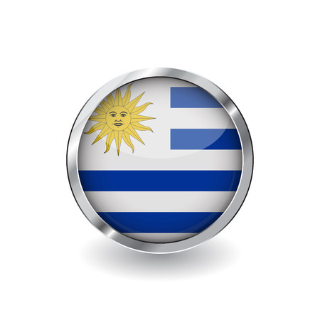 Flag of uruguay, button with metal frame and shadow. uruguay flag vector icon, badge with glossy effect and metallic border. Realistic vector illustration on white background.