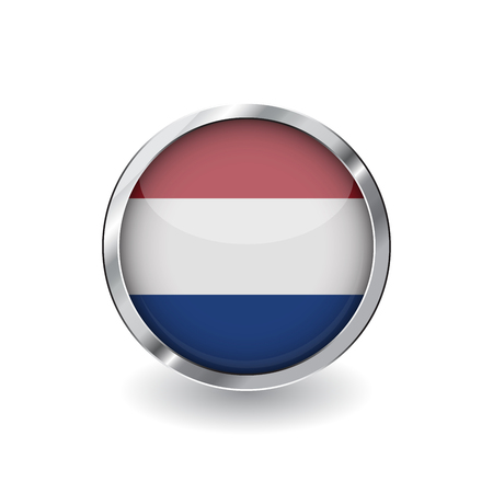 Flag of netherlands, button with metal frame and shadow. netherlands flag vector icon, badge with glossy effect and metallic border. Realistic vector illustration on white background.