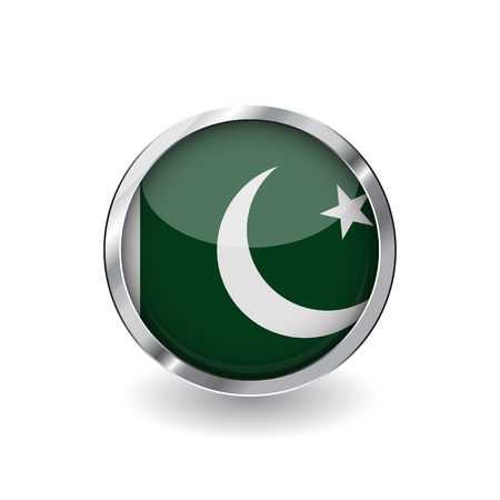 Flag of pakistan, button with metal frame and shadow. pakistan flag vector icon, badge with glossy effect and metallic border. Realistic vector illustration on white background.