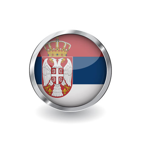 Flag of serbia, button with metal frame and shadow. serbia flag vector icon, badge with glossy effect and metallic border. Realistic vector illustration on white background.