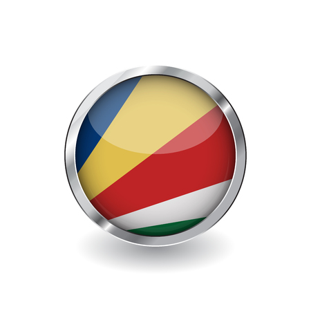 Flag of seychelles, button with metal frame and shadow. seychelles flag vector icon, badge with glossy effect and metallic border. Realistic vector illustration on white background.