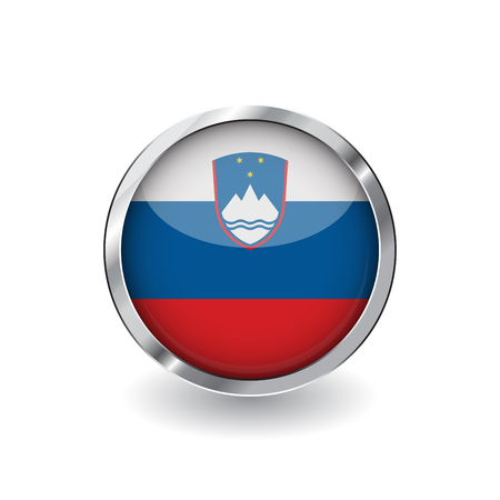Flag of slovenia, button with metal frame and shadow. slovenia flag vector icon, badge with glossy effect and metallic border. Realistic vector illustration on white background.