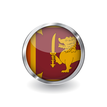 Flag of sri lanka, button with metal frame and shadow. sri lanka flag vector icon, badge with glossy effect and metallic border. Realistic vector illustration on white background.