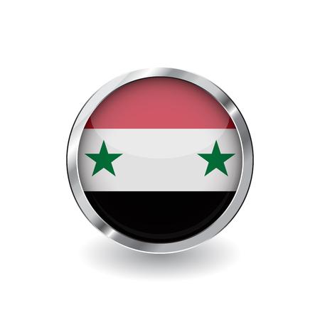 Drapeau de la syrie, bouton avec cadre en métal et ombre. icône de vecteur de drapeau de la syrie, badge avec effet brillant et bordure métallique. Illustration vectorielle réaliste sur fond blanc.