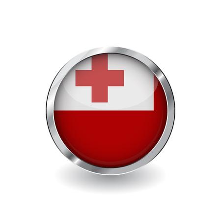 Flagge von Tonga, Knopf mit Metallrahmen und Schatten. Tonga-Flagge-Vektor-Symbol, Abzeichen mit glänzendem Effekt und metallischer Umrandung. Realistische Vektorillustration auf weißem Hintergrund. Vektorgrafik